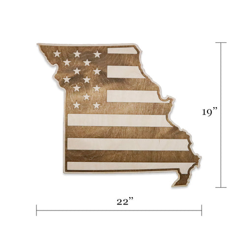 Missouri American Flag Two-Tone Inversed Wood Wall Art