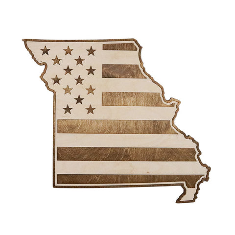 Missouri American Flag Two-Tone Wood Wall Art