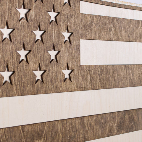 Montana American Flag Inversed Two-Tone Wood Wall Art