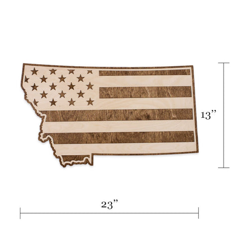 Montana American Flag Two-Tone Wood Wall Art
