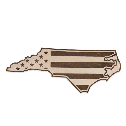 North Carolina American Flag Two-Tone Wood Wall Art