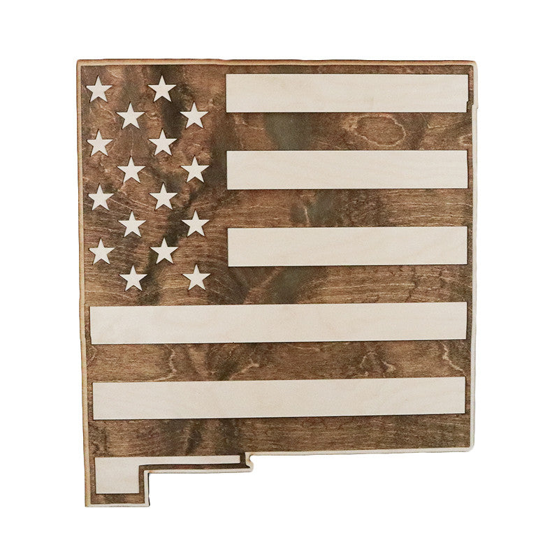 New mexico american flag inversed two tone wood wall art American flag wood wall art