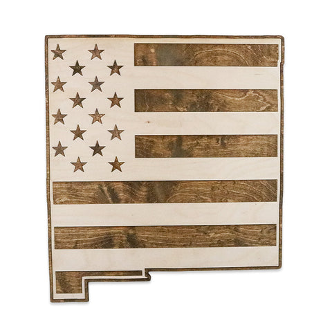 New Mexico American Flag Two-Tone Wood Wall Art