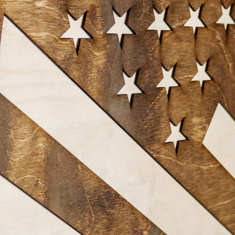 Nevada American Flag Inverse Two-Tone Wood Wall Art