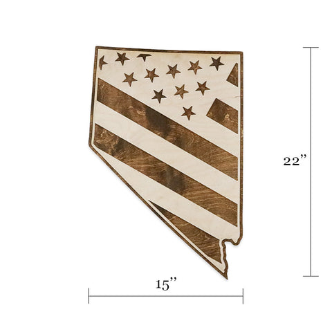 Nevada American Flag Two-Tone Wood Wall Art