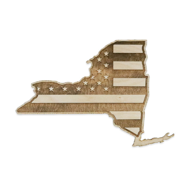 New york american flag inverse two tone wood wall art American flag wood wall art