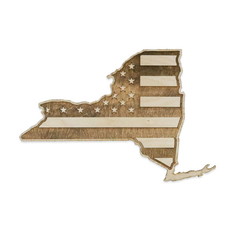 New York American Flag Inverse Two-Tone Wood Wall Art
