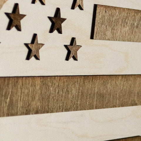New York American Flag Two-Tone Wood Wall Art