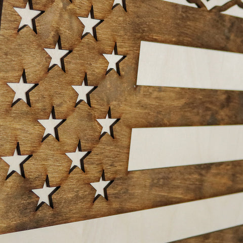 Ohio American Flag Inversed Two-Tone Wood Wall Art