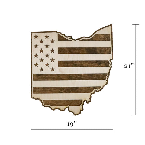 Ohio American Flag Two-Tone Wood Wall Art