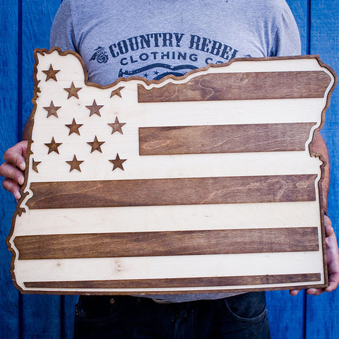 Oregon American Flag Two-Tone Wood Wall Art
