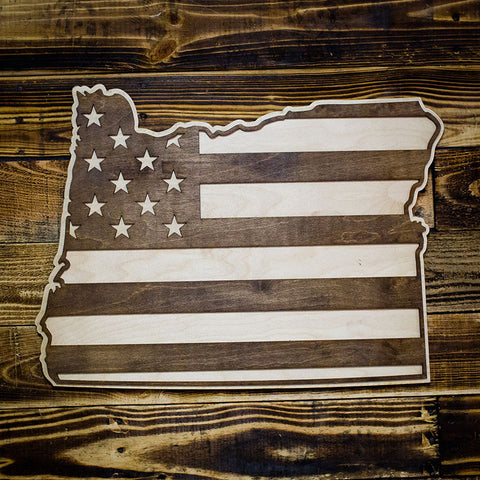 Oregon American Flag Inversed Two-Tone Wood Wall Art