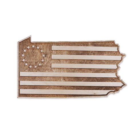 Pennsylvania Betty Ross Colonial American Flag Inversed Two-Tone Wood Wall Art