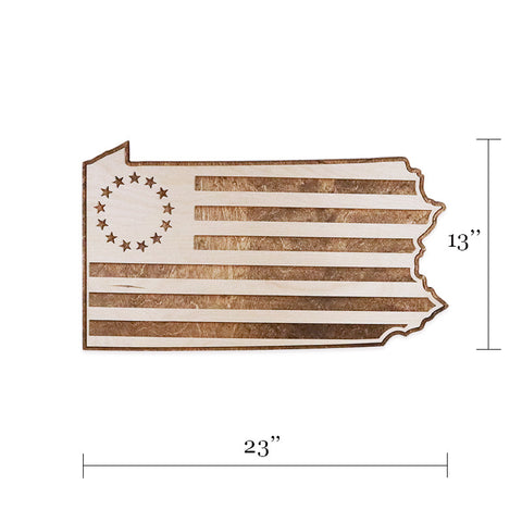 Pennsylvania Betsy Ross Colonial American Flag Two-Tone Wood Wall Art