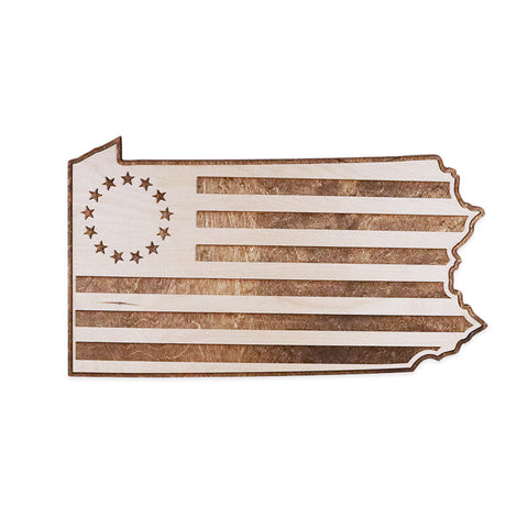 Pennsylvania Betty Ross Colonial American Flag Two-Tone Wood Wall Art