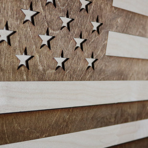 Pennsylvania American Flag Inversed Two-Tone Wood Wall Art