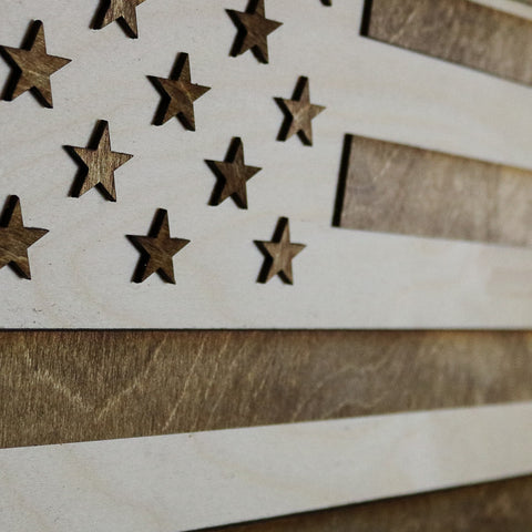 Pennsylvania American Flag Two-Tone Wood Wall Art
