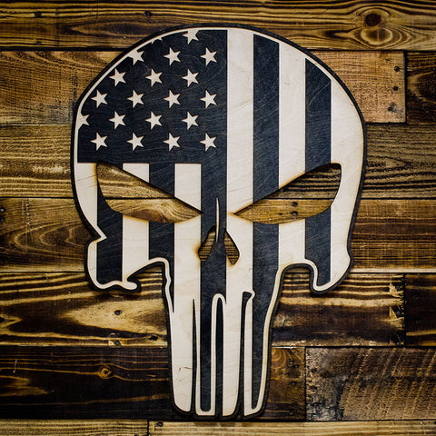 America Skull Two-Tone Wood Wall Art