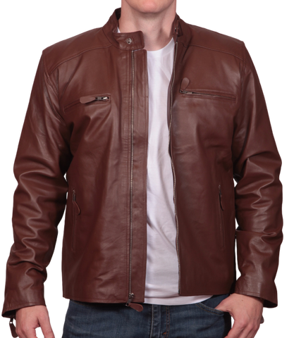 Tan Leather Roundneck Jacket