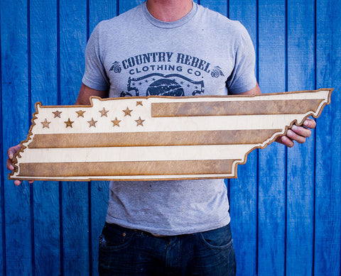 Tennessee American Flag Two-Tone Wood Wall Art