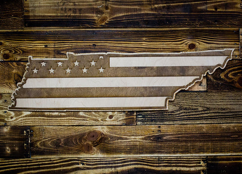 Tennessee American Flag Inversed Two-Tone Wood Wall Art
