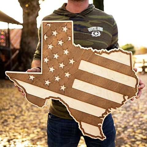 Texas American Flag Inversed Two-Tone Wood Wall Art