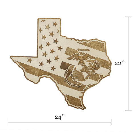USMC -Texas- American Flag Wood Wall Art
