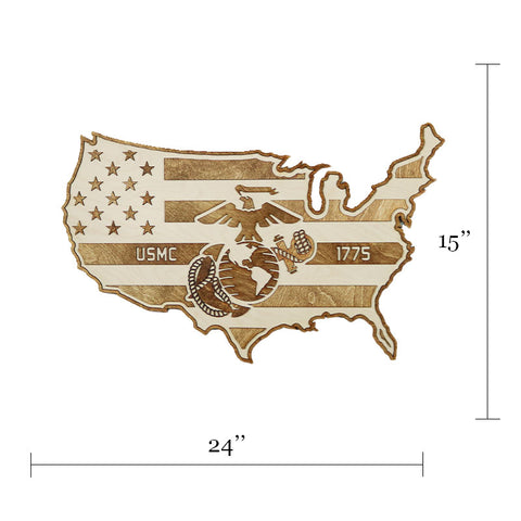 USMC - USA - American Flag Wood Wall Art