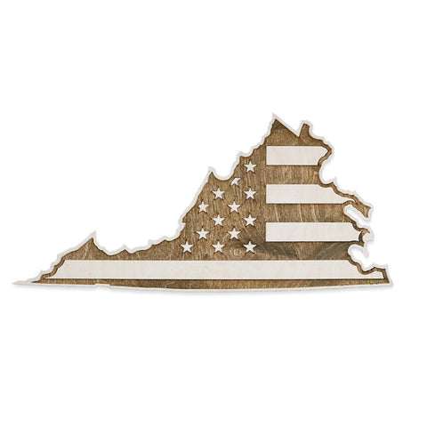 Virginia American Flag Inversed Two-Tone Wood Wall Art