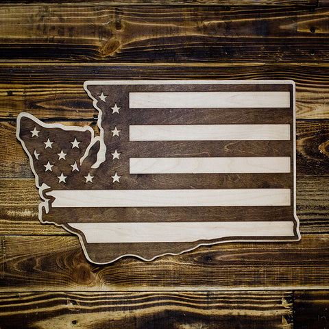 Washington American Flag Inversed Two-Tone Wood Wall Art