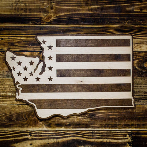 Washington American Flag Two-Tone Wood Wall Art