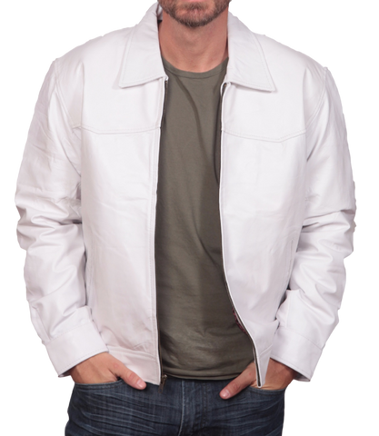 White Leather Short Jacket