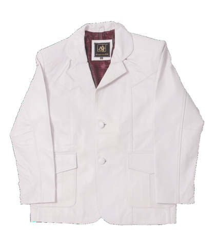 White Leather Western Blazer