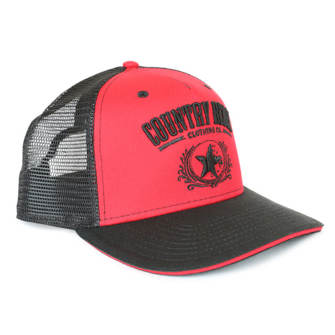 Country Rebel Snapback Red/Black - Black Logo
