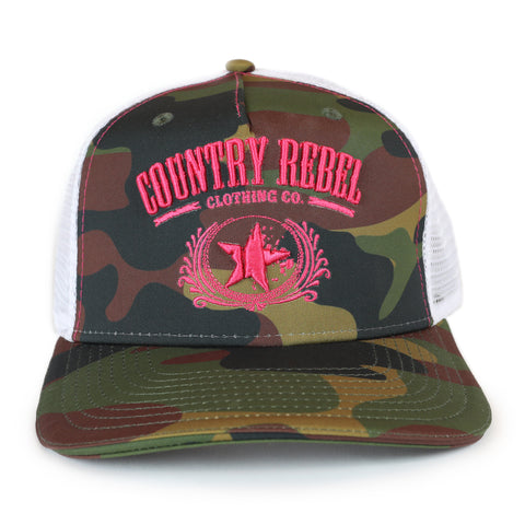 Country Rebel Snapback Camo/White - Pink Logo