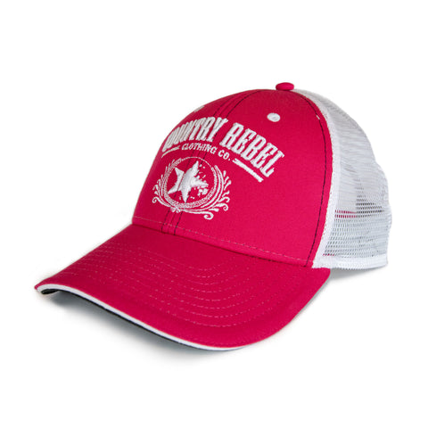 Country Rebel Snapback Pink/White - White Logo