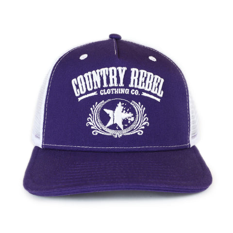 Country Rebel Snapback Purple/White - White Logo