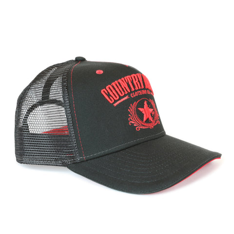 Country Rebel Snapback Black/Black - Red Logo
