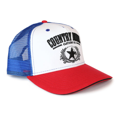 Country Rebel Snapback Red/White/Blue - Black Logo