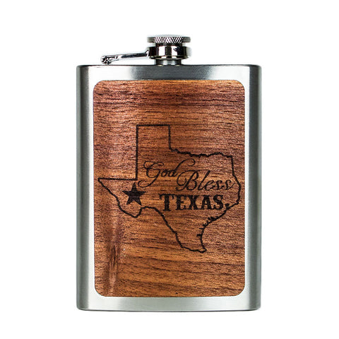 God Bless Texas Flask
