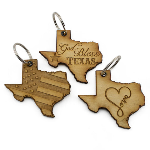 God Bless Texas Love Keychain 3 Pack
