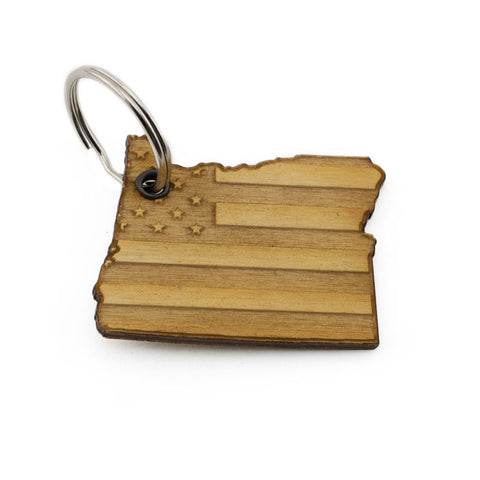 Oregon American Flag Keychain