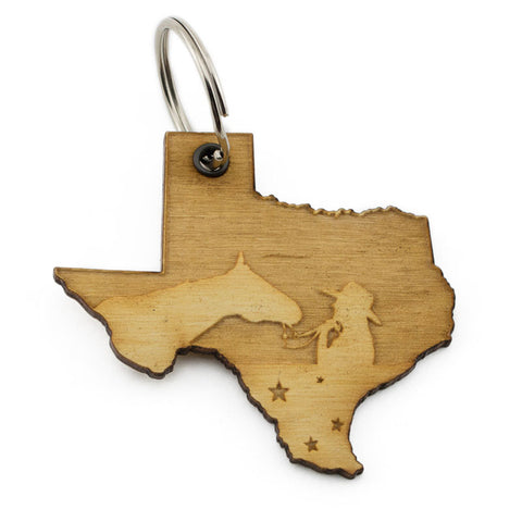 Texas Cowgirl And Her Horse Keychain