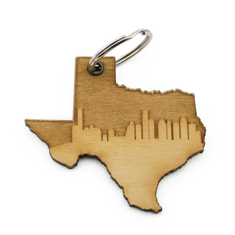 Texas Houston Skyline Keychain