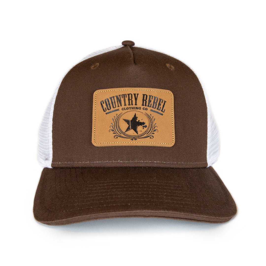 Country Rebel Snapback Brown White Leather Patch