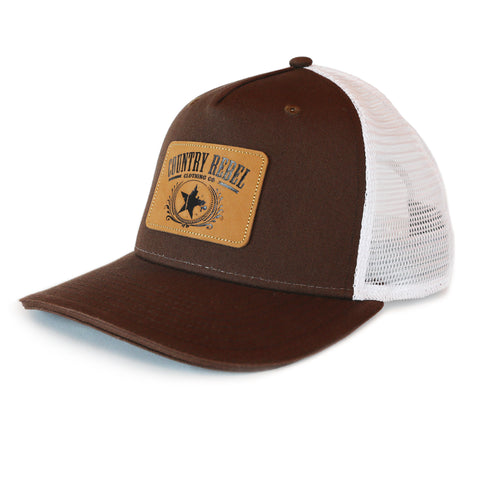 Country Rebel Snapback Brown/White - Leather Patch