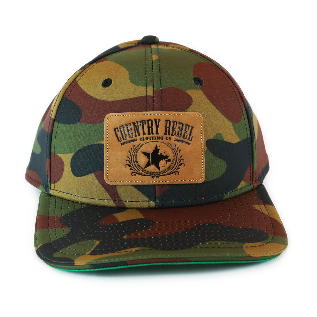 Country Rebel Snapback All Camo Leather Patch Country