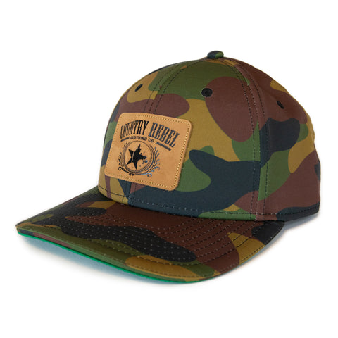 Country Rebel Snapback All Camo - Leather Patch