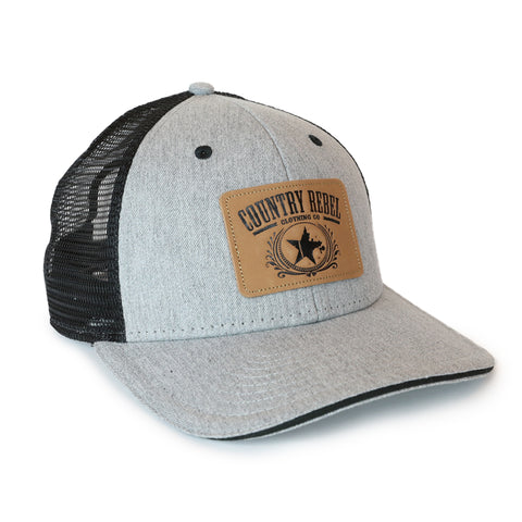 Country Rebel Snapback Grey/Black - Leather Patch