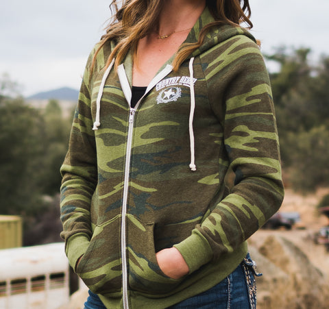 Camo Zip Up Hoodie - Women's